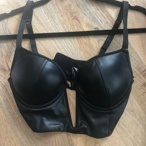 Bebe faux leather crop top